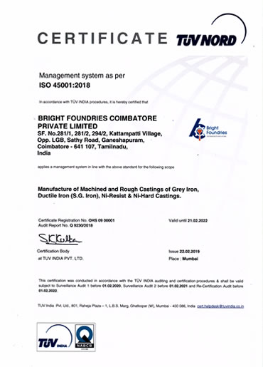 ISO 45001 2018 Certificate