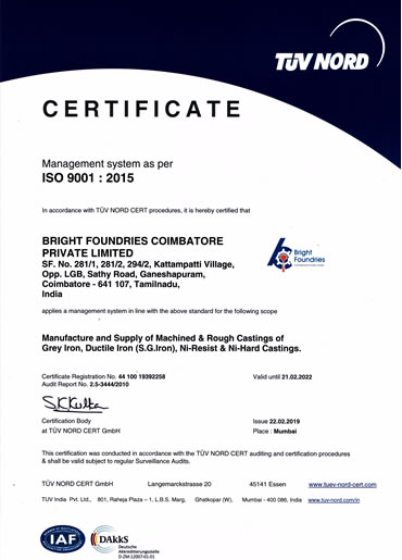 ISO 9001:2015 Certificate BFC